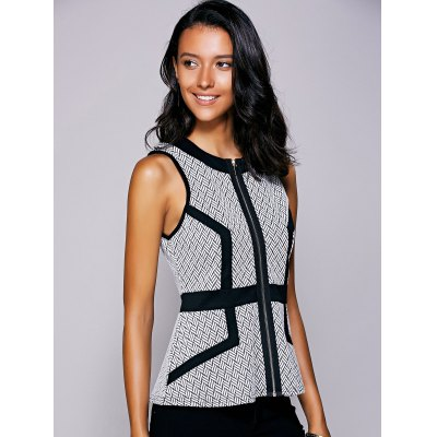 Casual Round Neck Print Ruffled Top For Women