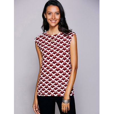 Round Neck Geometric Top For Women