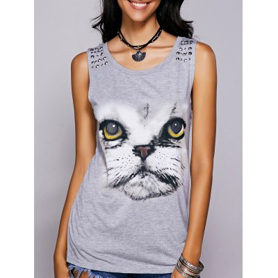 Casual Scoop Neck Printed Studded Tee For Women