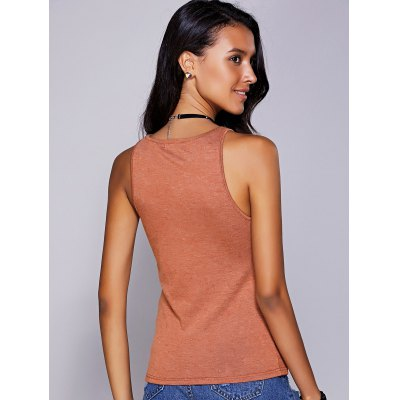 Casual Round Neck Solid Color Tank Top For Women
