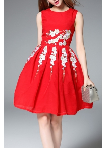 Sleeveless Fit and Flare Red Dress