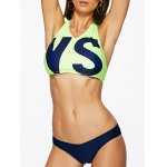 Alluring Halter Neck Letter Print Women's Two Piece Swimsuit