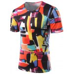 Slimming Color Printing Round Collar Short Sleeves T-Shirts For Men