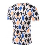 cheap Slimming Geometric Figure Printed Round Collar Short Sleeves T-Shirts For Men