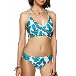 Buy Leaf Print Halter Neck Wrap Bikini Set 2XL TURQUOISE