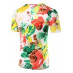 cheap Slimming Flower Printed Round Collar Short Sleeves T-Shirts For Men