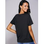 Casual Round Neck Black Knot T-Shirt For Women deal