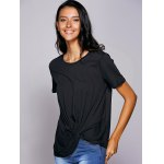 cheap Casual Round Neck Black Knot T-Shirt For Women