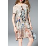 Printed Lace-Up Silk Dress