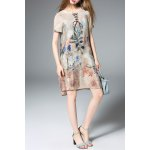 Printed Lace-Up Silk Dress for sale