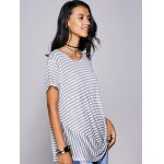 cheap Casual Scoop Neck Striped Twisted T-Shirt For Women