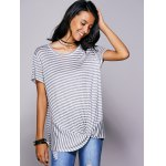 Casual Scoop Neck Striped Twisted T-Shirt For Women