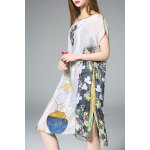 Slash Neck Floral Print Silk Straight Dress deal