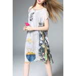 Slash Neck Floral Print Silk Straight Dress
