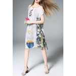 Slash Neck Floral Print Silk Straight Dress for sale