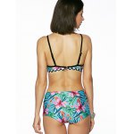 Chic Women's Floral Print Cut Out Bikini for sale