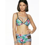cheap Chic Women's Floral Print Cut Out Bikini