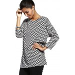 cheap Chic Jewel Neck Zigzag Stripe 3/4 Sleeve T-Shirt For Women