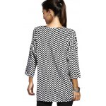 Chic Jewel Neck Zigzag Stripe 3/4 Sleeve T-Shirt For Women for sale