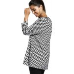 Chic Jewel Neck Zigzag Stripe 3/4 Sleeve T-Shirt For Women deal