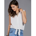 cheap Stylish Shirt Collar Sleeveless Solid Color Knotted Women's Shirt