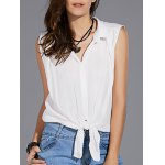 Stylish Shirt Collar Sleeveless Solid Color Knotted Women's Shirt