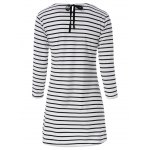 Casual Scoop Neck Long Sleeves Striped Dress For Women for sale