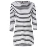 Casual Scoop Neck Long Sleeves Striped Dress For Women