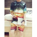 3D Starry Sky Tree Print Round Neck Short Sleeves T-Shirt+Shorts For Men