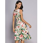 Trendy Jewel Neck Sleeveless Floral Print Women's Dress for sale