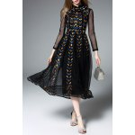 Long Sleeve Embroidered Black Maxi Dress