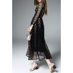 cheap Long Sleeve Embroidered Black Maxi Dress