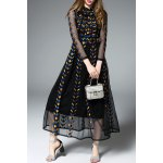 Long Sleeve Embroidered Black Maxi Dress deal