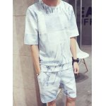 Abstract Pattern Round Neck Short Sleeves T-Shirt Suits For Men(T-Shirt+Shorts)