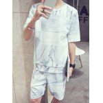 cheap Abstract Pattern Round Neck Short Sleeves T-Shirt Suits For Men(T-Shirt+Shorts)