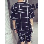 cheap Casual Round Neck Color Block Short Sleeves Plaid T-Shirt Suits For Men(T-Shirt+Shorts)