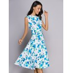 Trendy Round Neck Floral Print Sleeveless Women's Dress deal