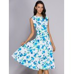 cheap Trendy Round Neck Floral Print Sleeveless Women's Dress