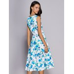Trendy Round Neck Floral Print Sleeveless Women's Dress for sale