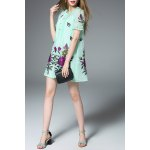 Frilled Green A Line Dress for sale