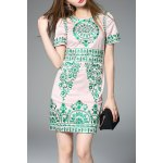 Vintage Embroidered Sheath Dress in Pink