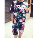 Flower Letters Printing Round Neck Short Sleeves Fashion T-Shirt+Shorts For Men