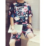 cheap Flower Letters Printing Round Neck Short Sleeves Fashion T-Shirt+Shorts For Men
