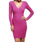 Elegant Plunging Neck Patchwork Long Sleeve Bodycon Dress For Women