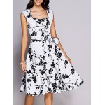 Retro Floral Sweetheart Neck Bowknot Embellished Women's Dress