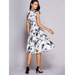 Retro Floral Sweetheart Neck Bowknot Embellished Women's Dress for sale
