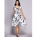 cheap Retro Floral Sweetheart Neck Bowknot Embellished Women's Dress