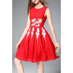 Sleeveless Fit and Flare Red Dress for sale