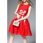 Sleeveless Fit and Flare Red Dress deal