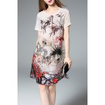 Short Sleeve Ink Painting Silk Dress